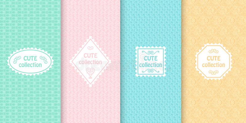 Set of cute pastel seamless patterns with frames. Abstract geometric background stock illustration