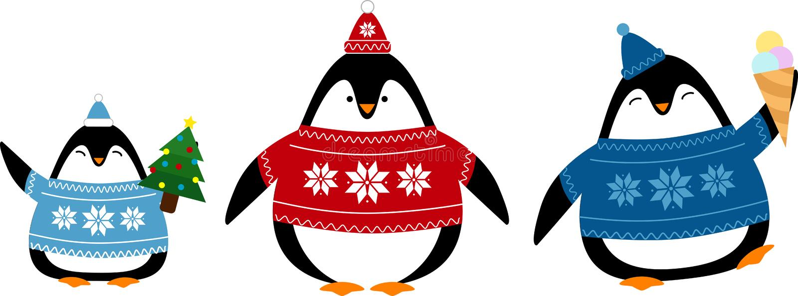 Set of cute penguins in sweaters and hats royalty free illustration