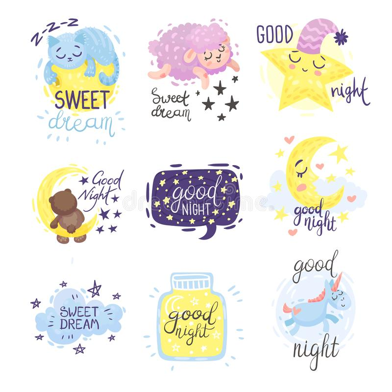 Set of cute pictures with the inscription Good night. Vector illustration on a white background. Set of cute lambs, moon, stars with the inscription Good night royalty free illustration