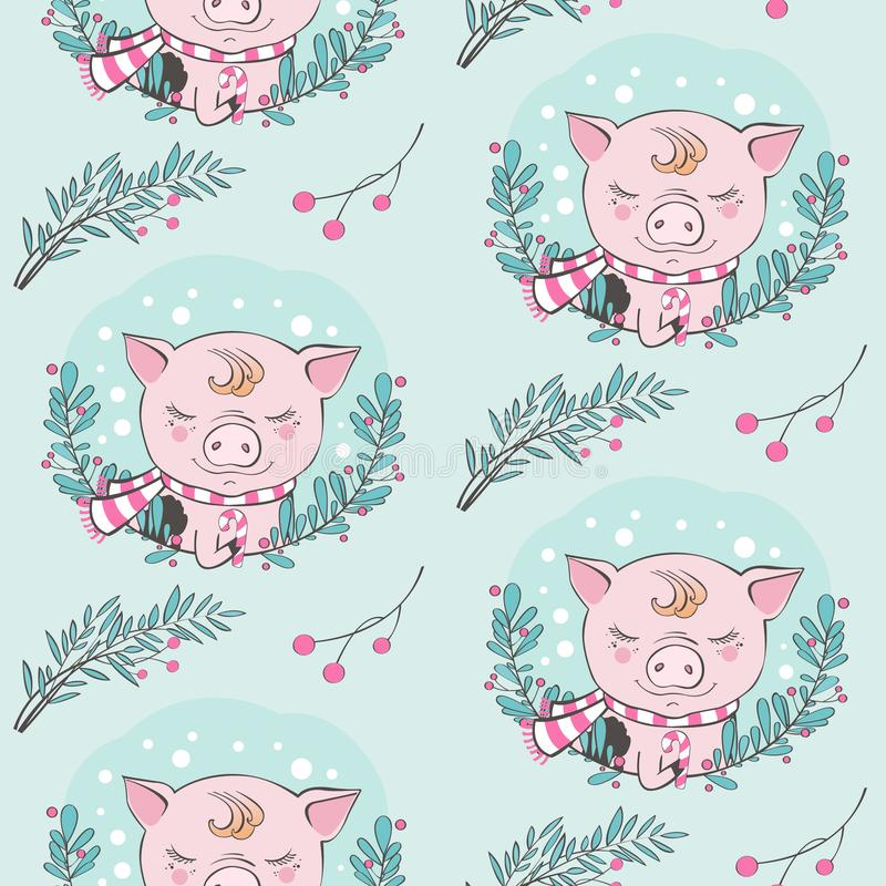 Set of cute pig cartoon seamless characters pattern. Chinese symbol of the 2019 year. Happy New Year. Cute funny piggy. Set of cute pig farm cartoon pattern vector illustration