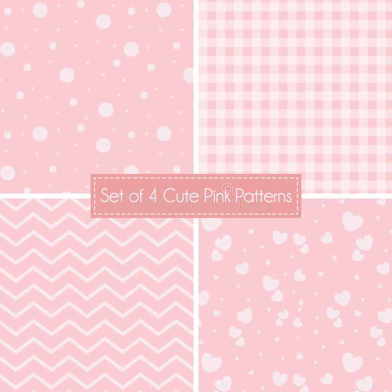 Set of 4 cute pink patterns and textures stock vector download set of 4 cute pink patterns and textures stock vector illustration 73984807 voltagebd Image collections