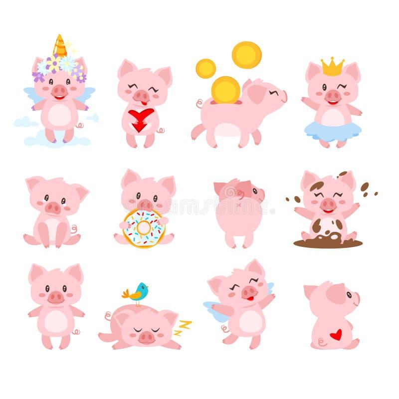 set of cute pink pig vector illustration
