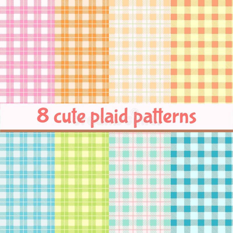 Set of cute plaid seamless patterns royalty free illustration