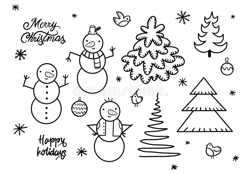 Set of cute playful snowmen. Elements from the Christmas collection of characters. Happy New Year, Merry Xmas design element. stock illustration
