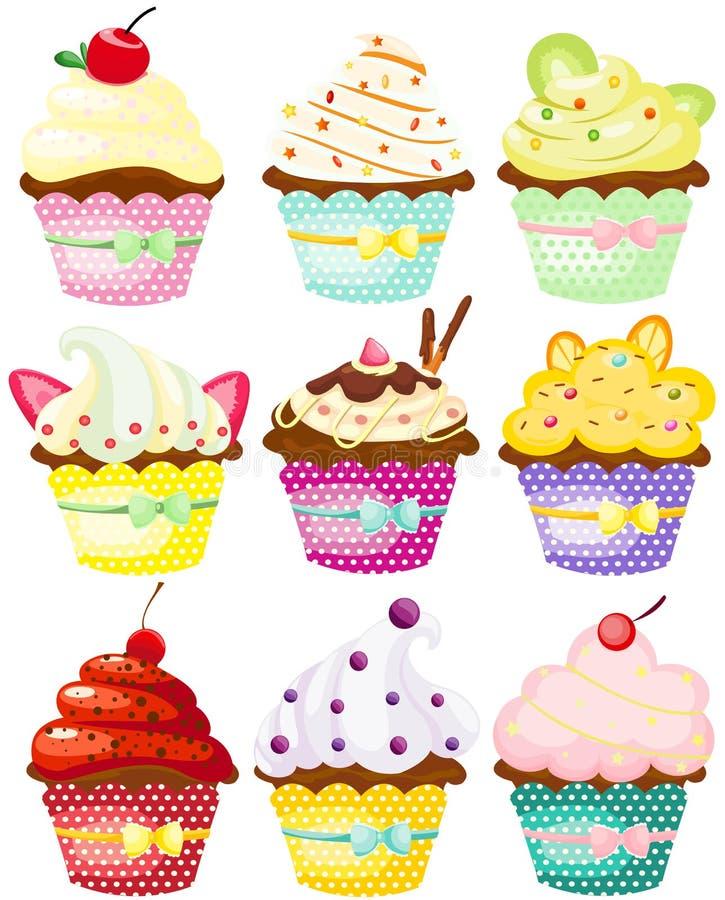 Set of cute polka dot cupcakes vector illustration