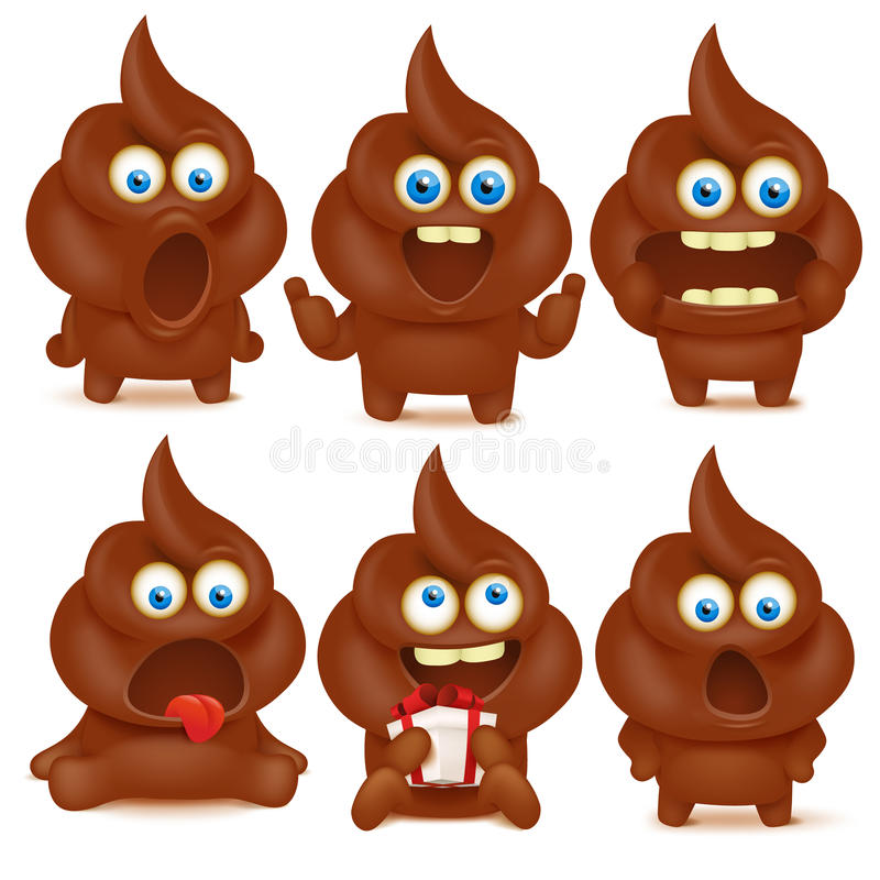 Set of cute poop emoji characters with different emotions. vector illustration