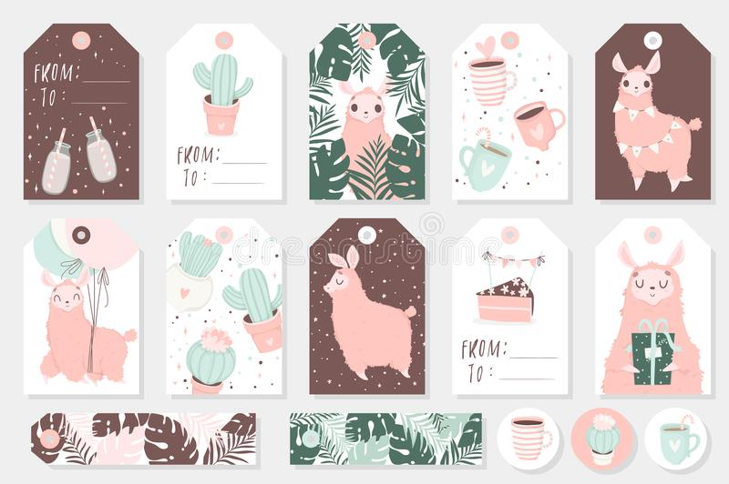 Set of cute ready-to-use gift tags, cards and sticers with lamas stock illustration