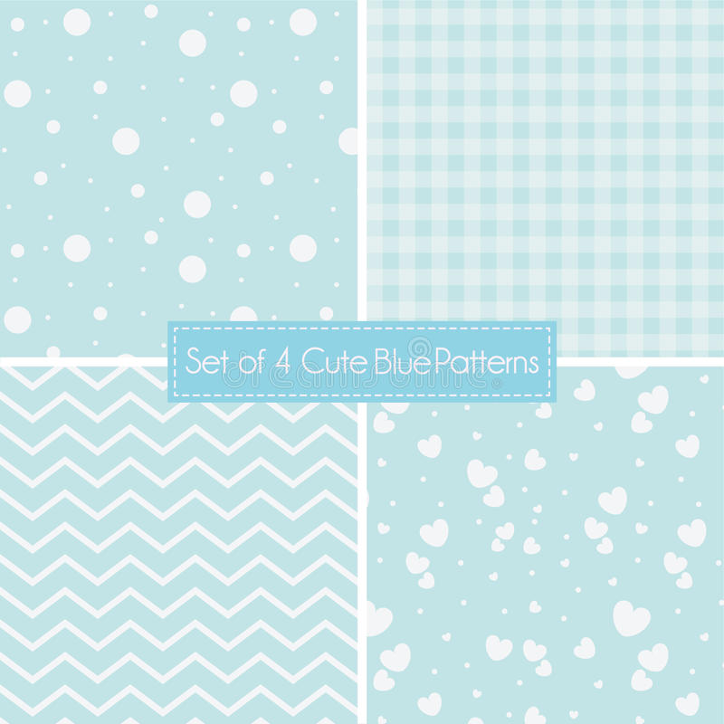 Download Set Of 4 Cute Retro Blue Patterns And Textures Stock Vector