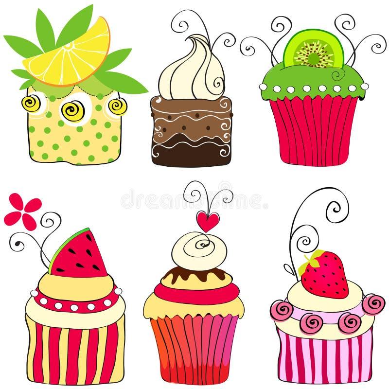 Set of cute retro cupcakes