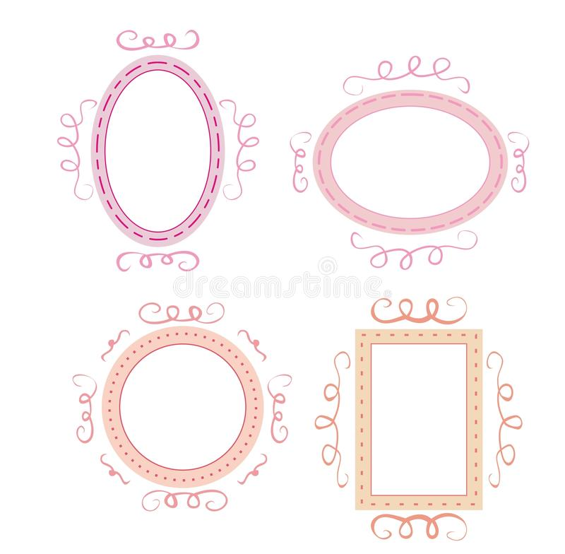 Set of cute, retro frames with white, empty space royalty free stock photos
