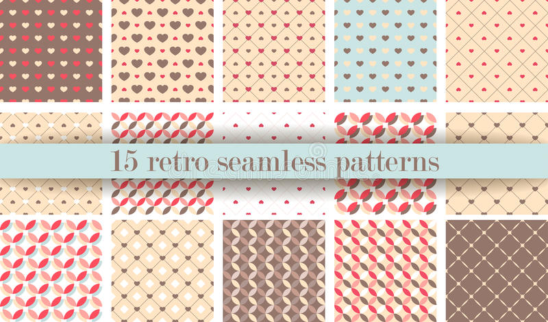 Set of Cute retro seamless pattern. Retro pink, white and blue colors. stock illustration