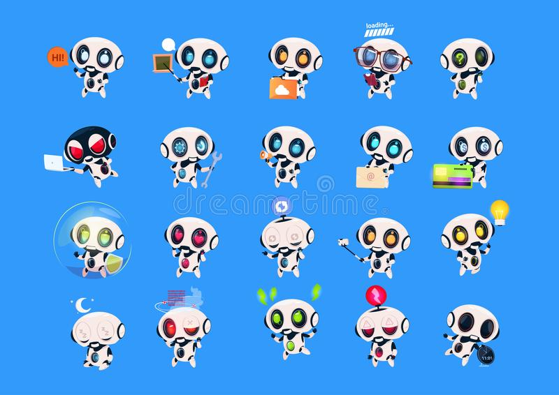 Set Of Cute Robots Icons Isolated On Blue Background Modern Technology Artificial Intelligence Concept. Vector Illustration stock illustration