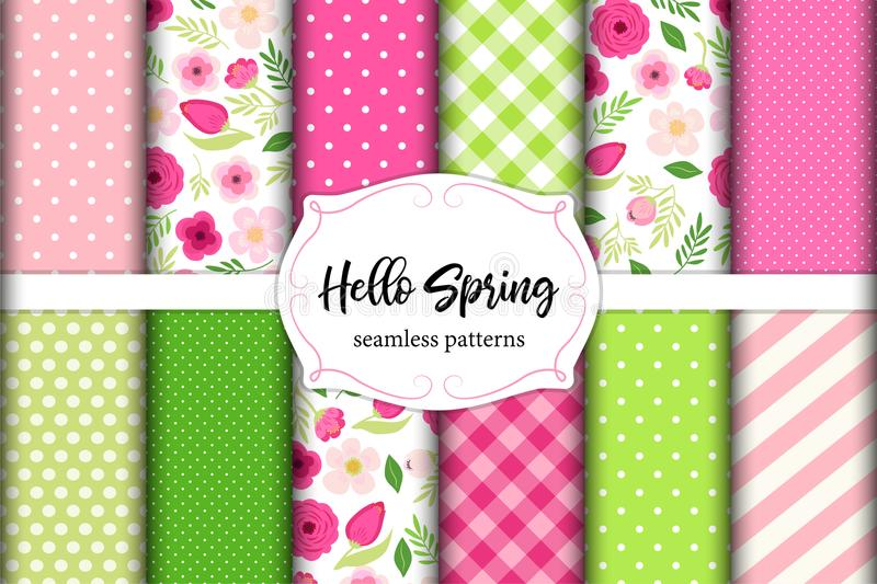 Set of cute seamless Hello Spring patterns with primitive flowers, polka dots, stripes and plaid vector illustration