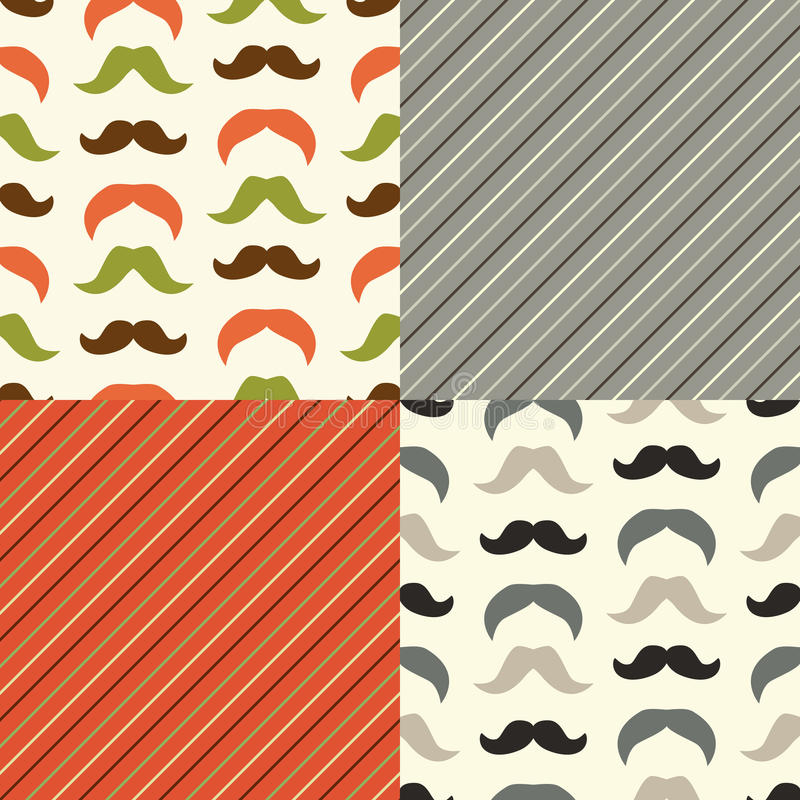 Set of cute seamless retro Father`s day patterns stock illustration