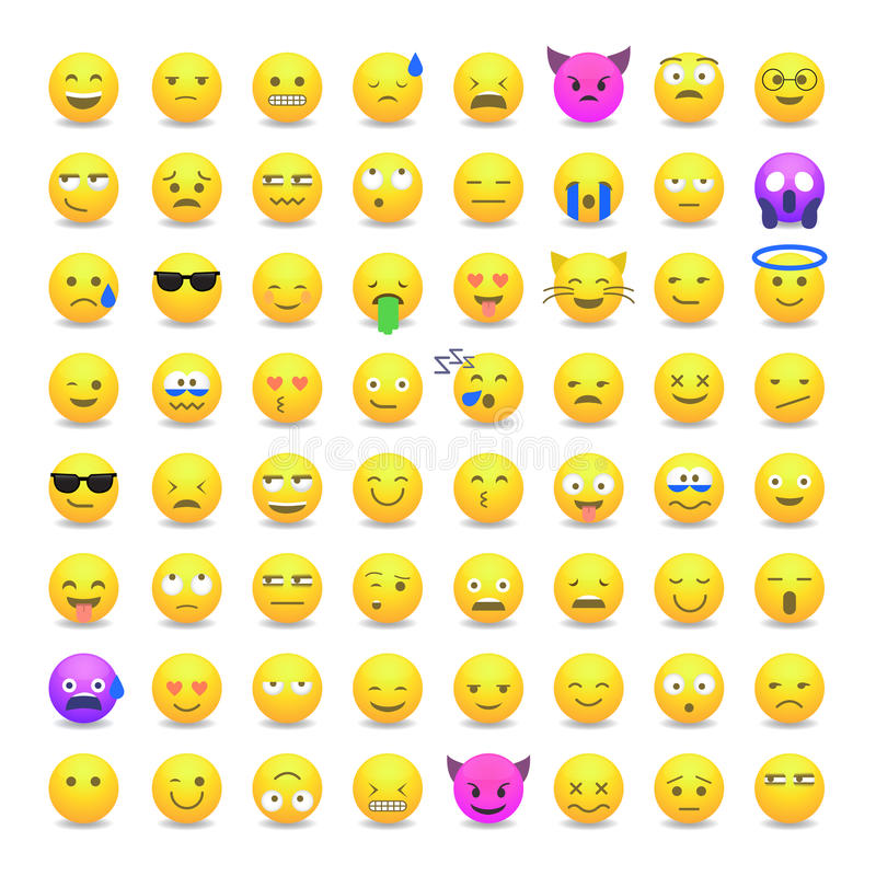 Set Of Cute Smiley Emoticons Stock Vector Illustration Of Clipart