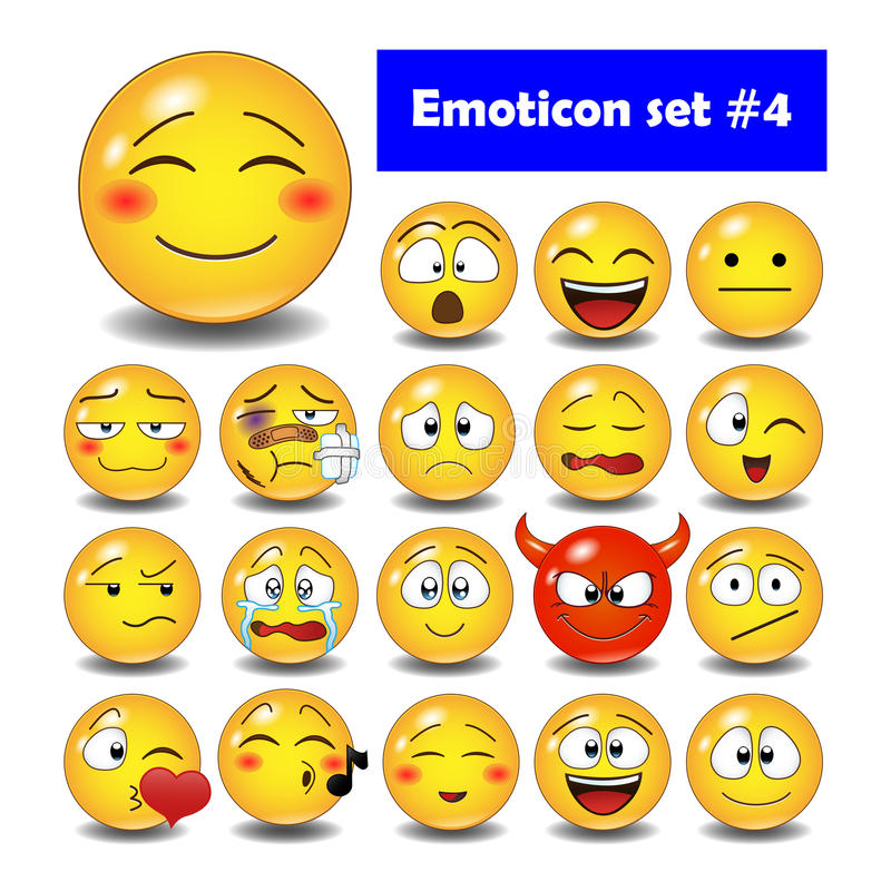 Set of cute smiley emoticons stock photography