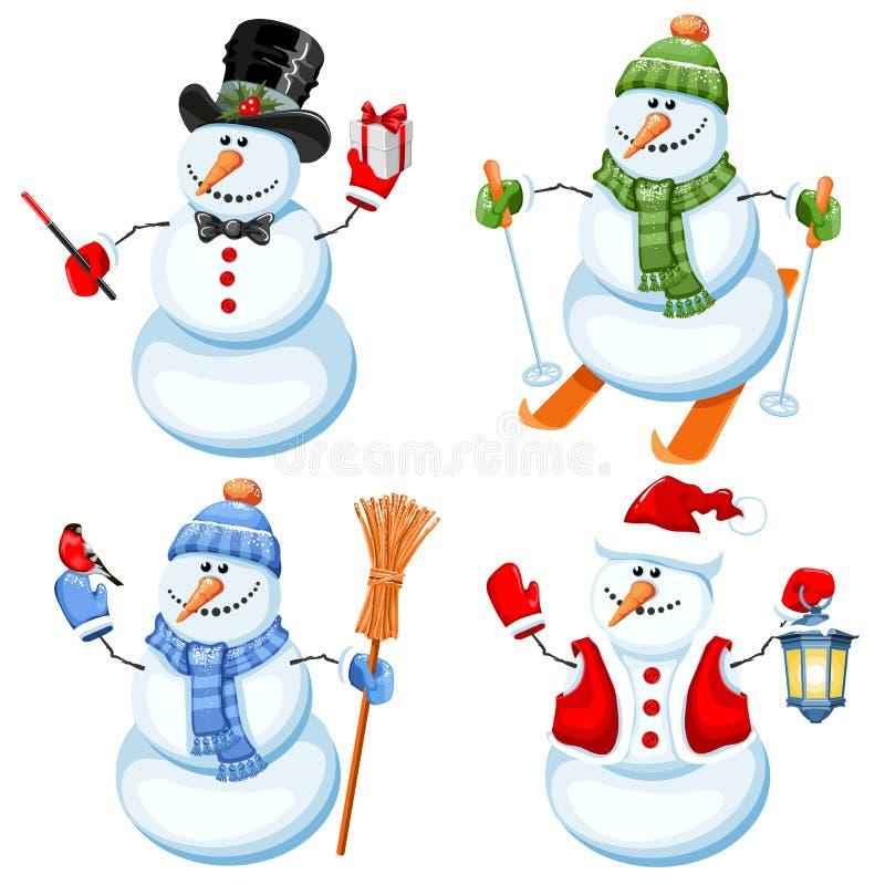 Set of cute snowman stock illustration