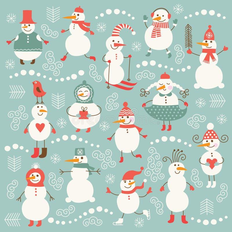 Set of cute snowmen. Set of cute funny snowmen stock illustration
