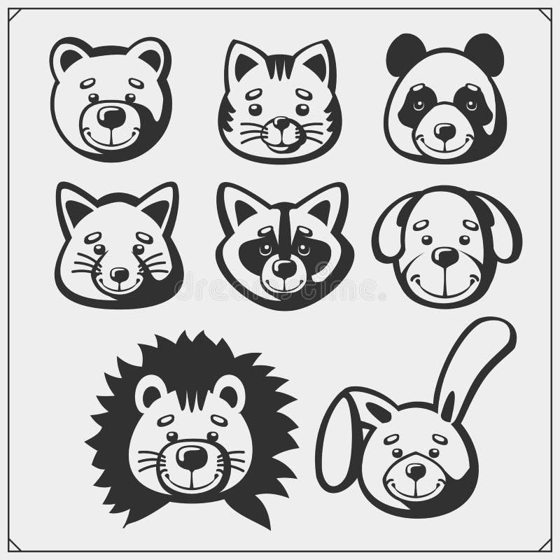 Set of cute soft plush animal toys. Vector. Set of cute soft plush animal toys. Vector illustration royalty free illustration