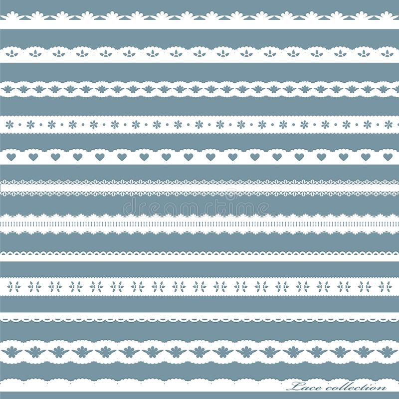 Set of cute straight white lace. Can be used for scrapbook, baby shower or wedding design stock illustration