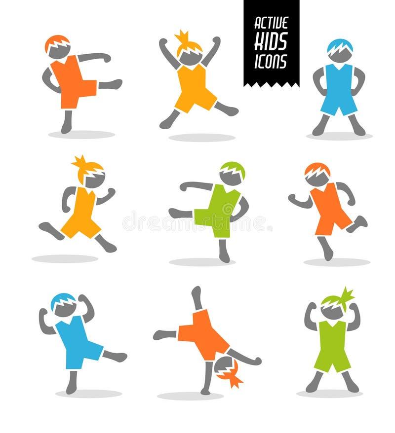 Set of cute stylized athletic kids royalty free illustration