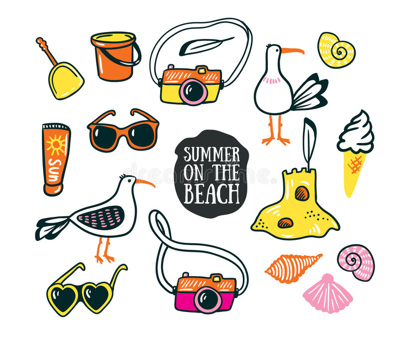 A set of cute summer and beach icons. Vector hand drawn illustration. royalty free illustration