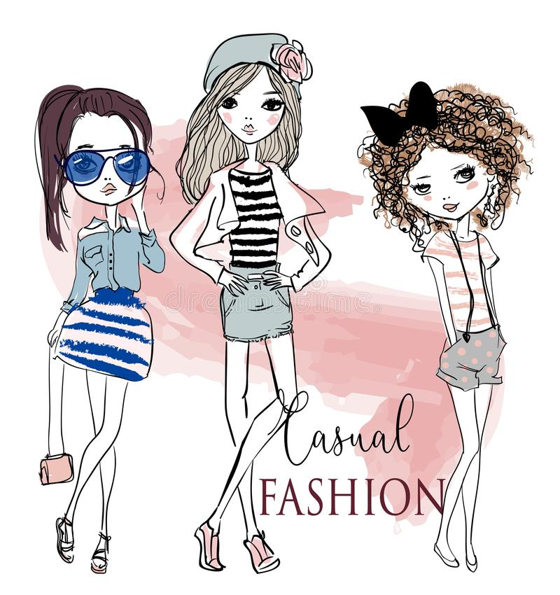 Set with cute cartoon girls stock illustration