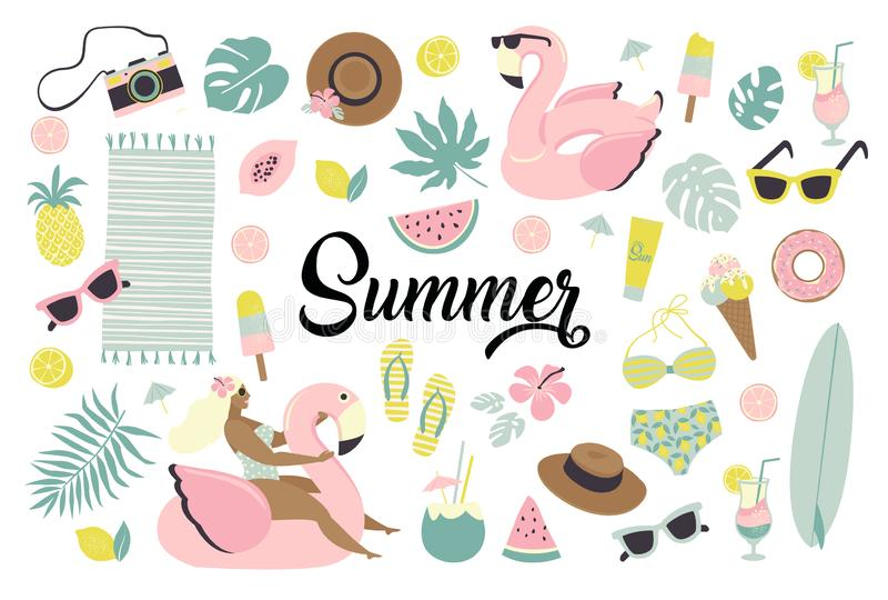 Set of cute summer icons food, drinks, ice cream, fruits, sunglasses, palm leaves and flamingo inflatable swimming pool royalty free illustration