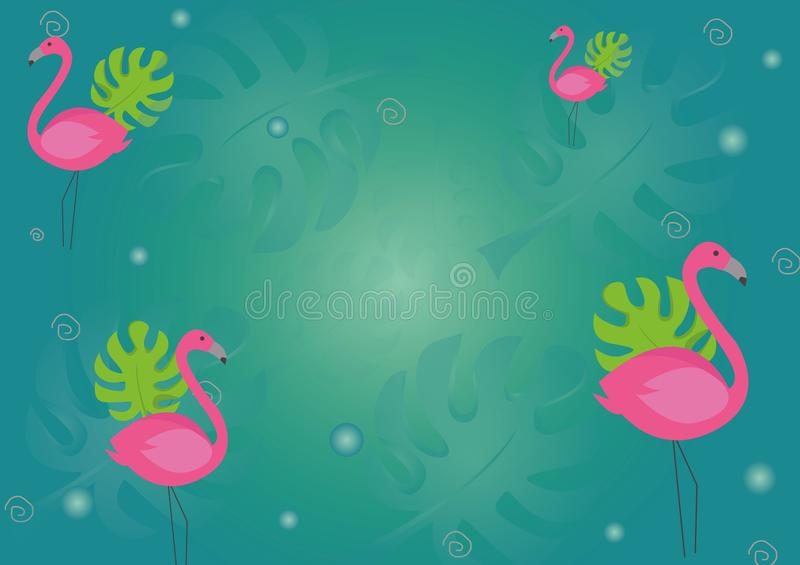 Set of cute summer icons: food, drinks, palm leaves, fruits and flamingo. Bright summertime poster. Collection of scrapbooking royalty free illustration