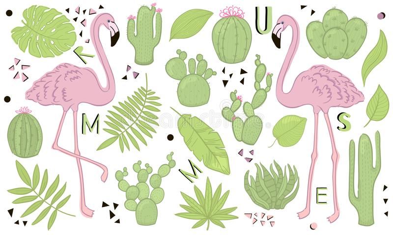 Set of cute summer icons: green tropical leaves, cactus and flamingo. Bright summertime poster. Collection of scrapbooking element stock illustration