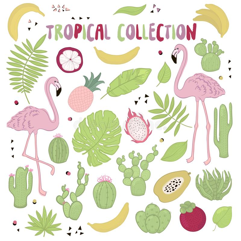Set of cute summer icons: green tropical leaves, cactus and flamingo. Bright summertime poster. Collection of scrapbooking element. S. Cartoon style royalty free illustration