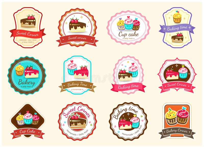 Set of cute sweet bakery badge label and logo vector illustration