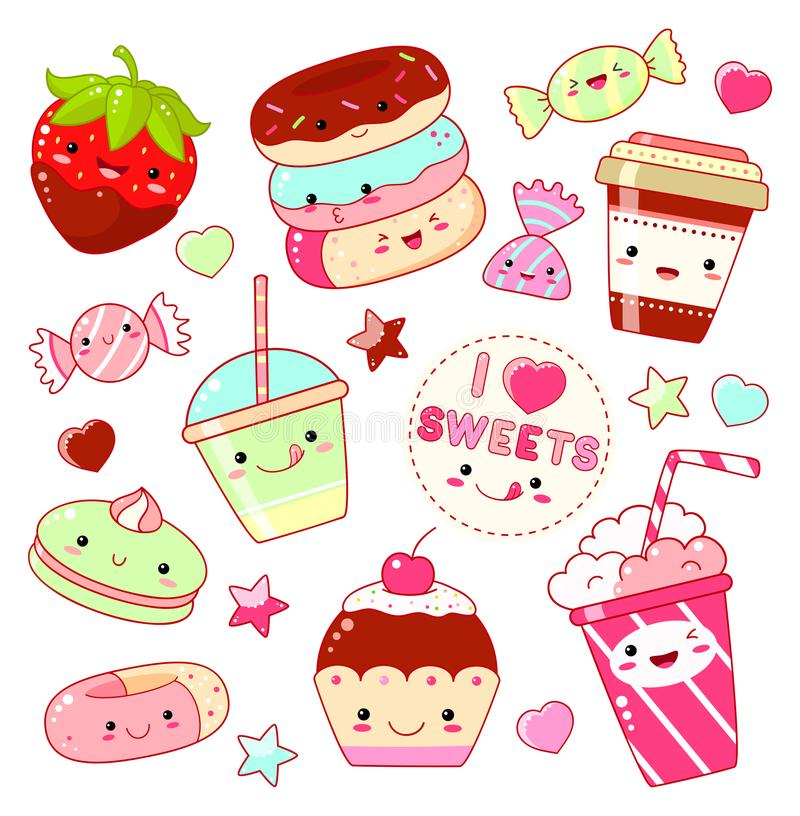 Set of cute sweet icons in kawaii style stock illustration