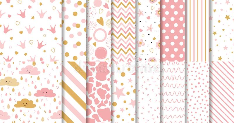 Set of cute sweet pink seamless patterns Wallpaper for little baby girl Pink background collection stock illustration