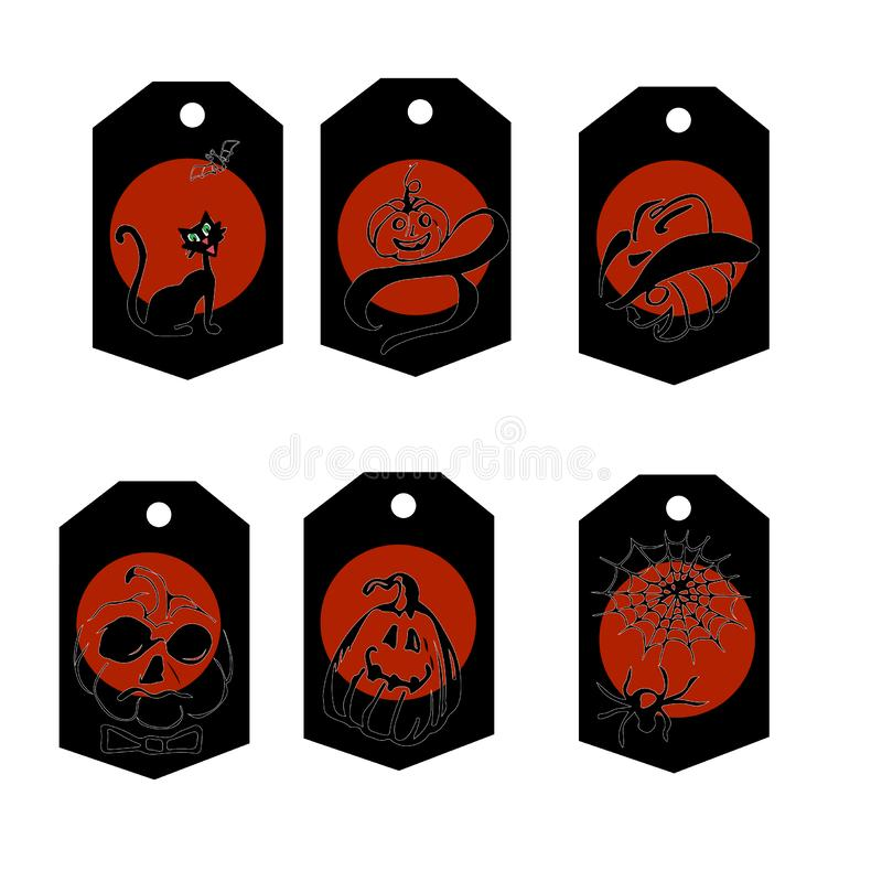 Set of 6 cute tags, labels, Halloween in the current color palette. Orange Black White royalty free illustration