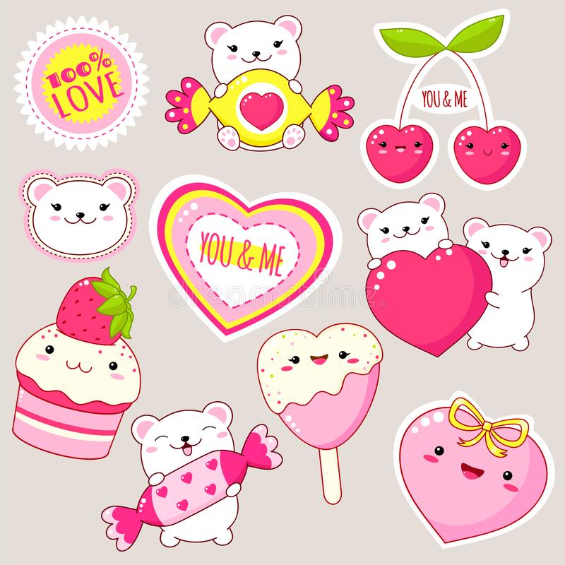 Set of cute Valentine`s day icons in kawaii style. Set of cute Valentine`s day party icons in kawaii style. Polar bear with heart, candy, cupcake with strawberry vector illustration