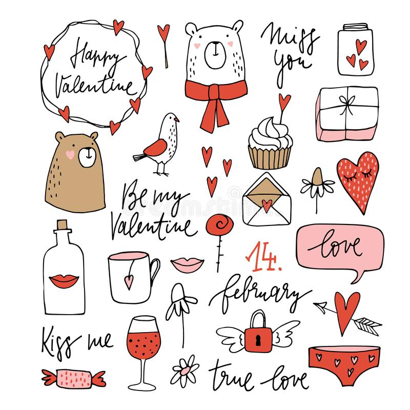 Set of cute Valentines doodle sketches. Wedding clip-arts of bears, dove, glass of wine, lips, envelope and hearts vector illustration