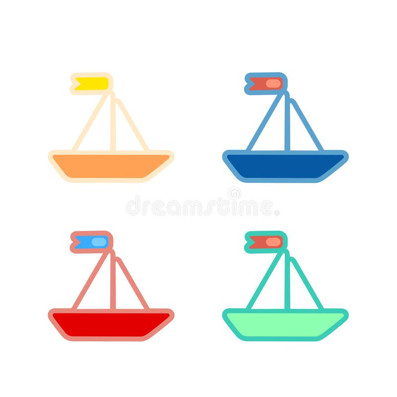 Set of cute vector boat in toy style. Isolated on white royalty free illustration