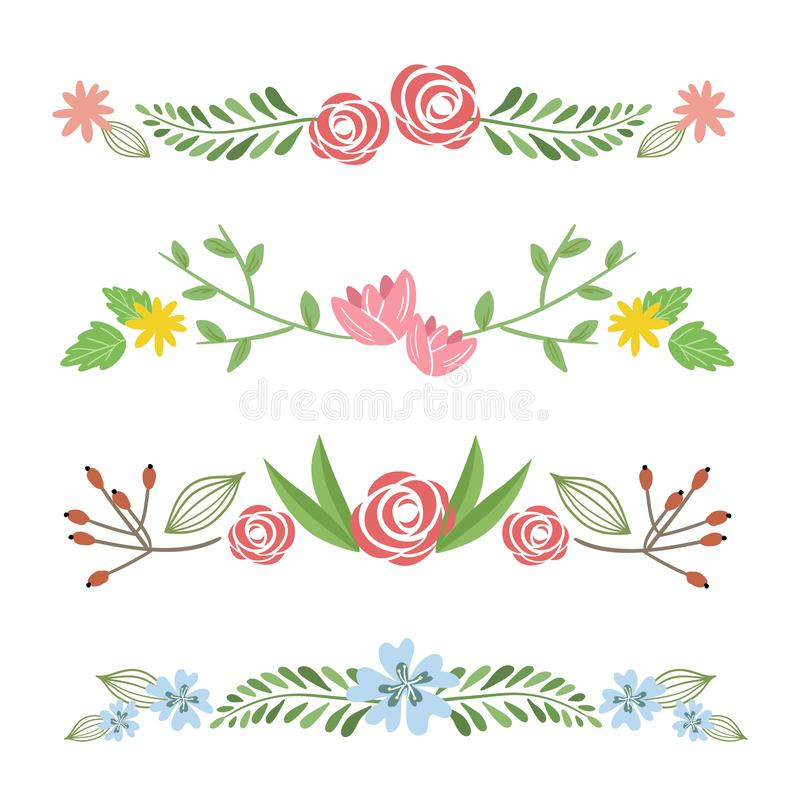 Set of cute vector floral borders or frame elements isolated on white background vector illustration