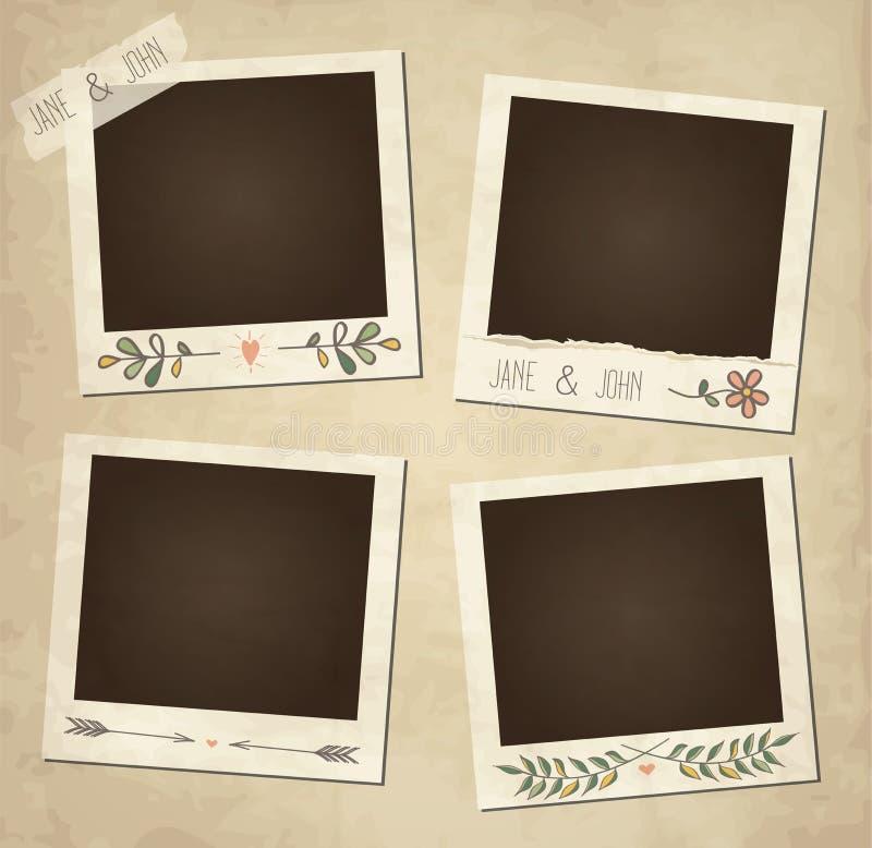 Set of cute vector retro floral photo frames stock illustration