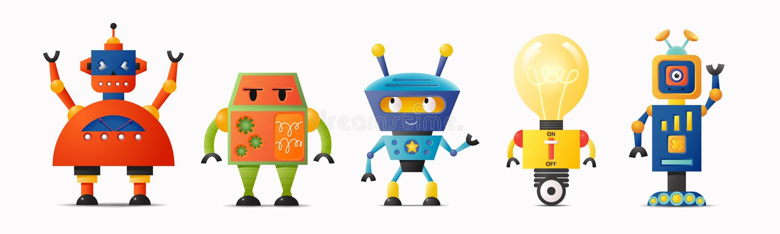 Set of cute vector robot characters for kids vector illustration
