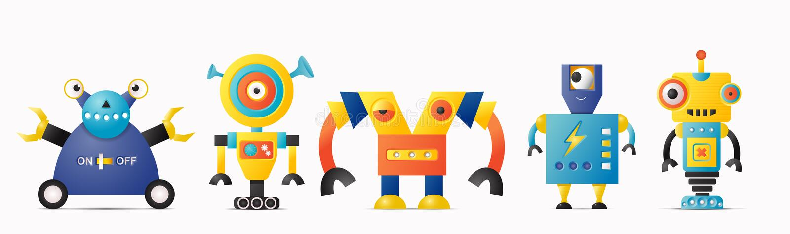 Set of cute vector robot or monster characters for kids. Vintage futuristic cyborgs vector illustration