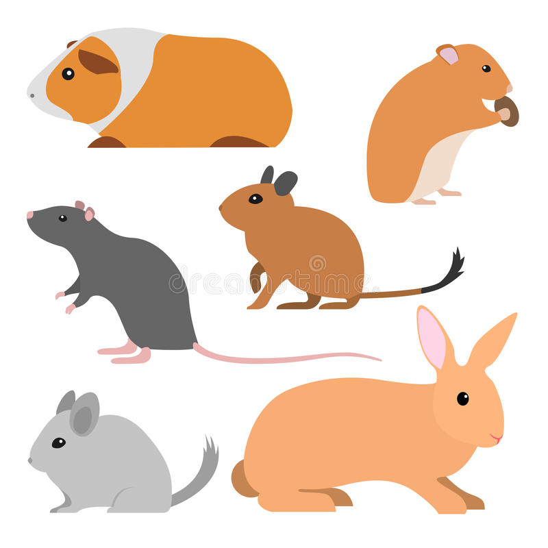 Set of cute vector rodents stock images
