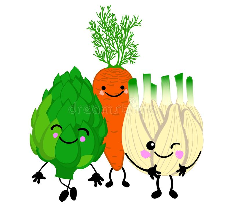 Set of cute vegetables with eyes and smiles on a white background. Print for t-shirts or cups royalty free illustration