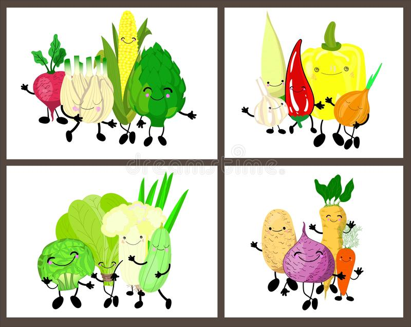 Set of cute vegetables with eyes and smiles on a white background. In collection 4 pictures.  vector illustration