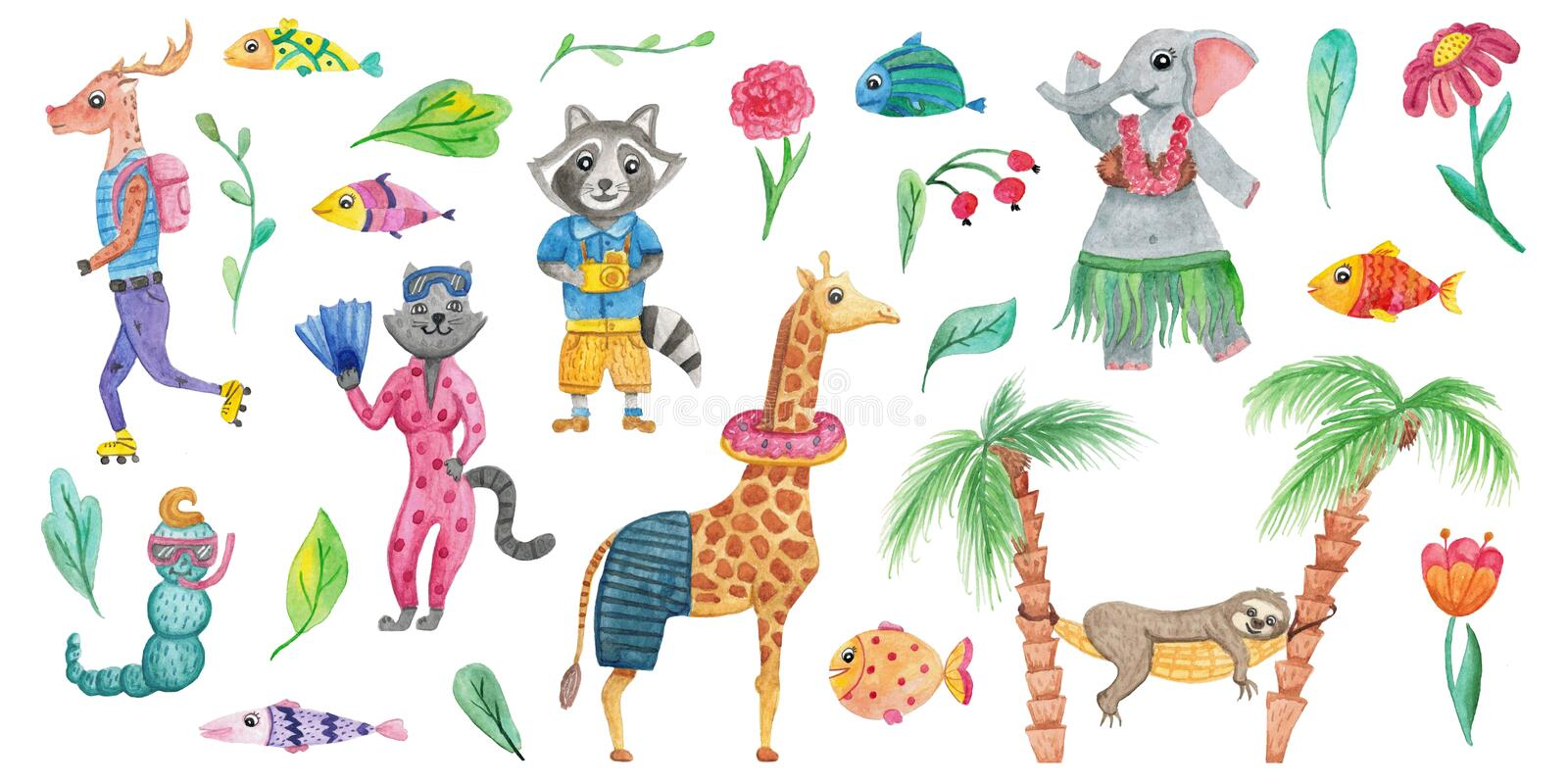 Set of cute watercolor animals, flowers and tropical leaves. Isolated hand drawn illustrations for design royalty free illustration