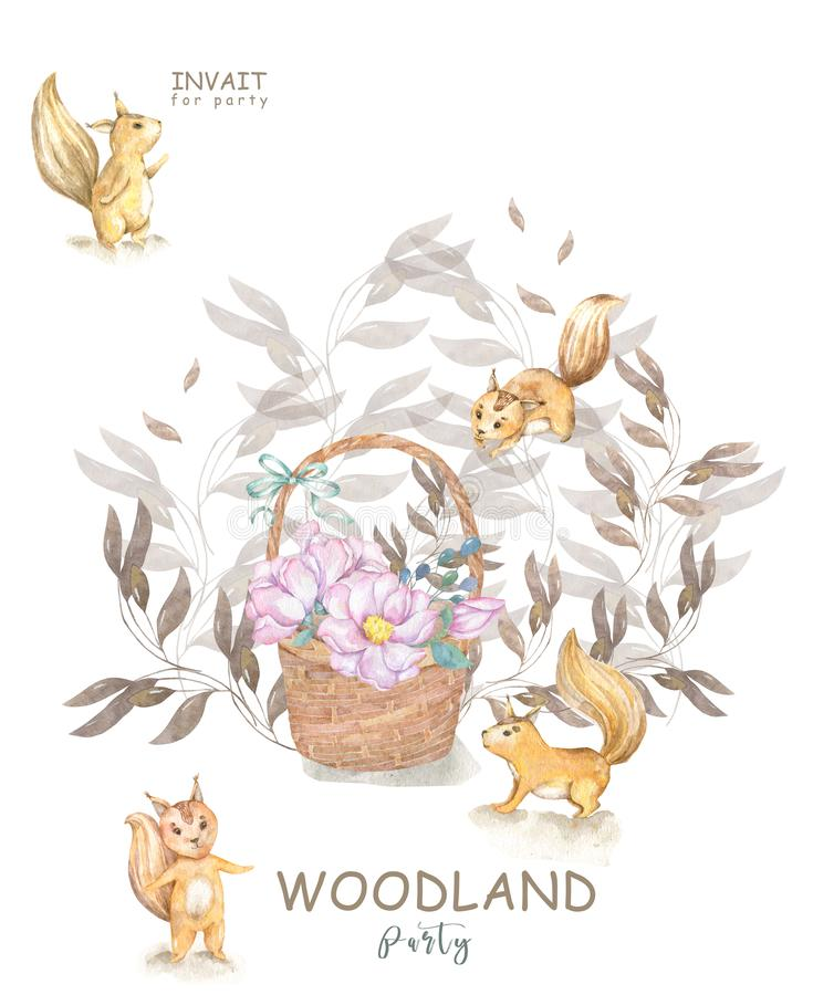 Set cute watercolor bohemian baby squirrel animal and wooden basket poster for nursary, alphabet woodland isolated forest stock illustration