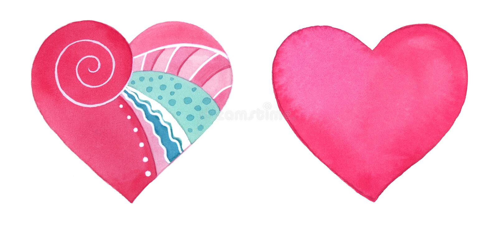 Set Of Cute Watercolor Hearts Stock Illustration Illustration Of