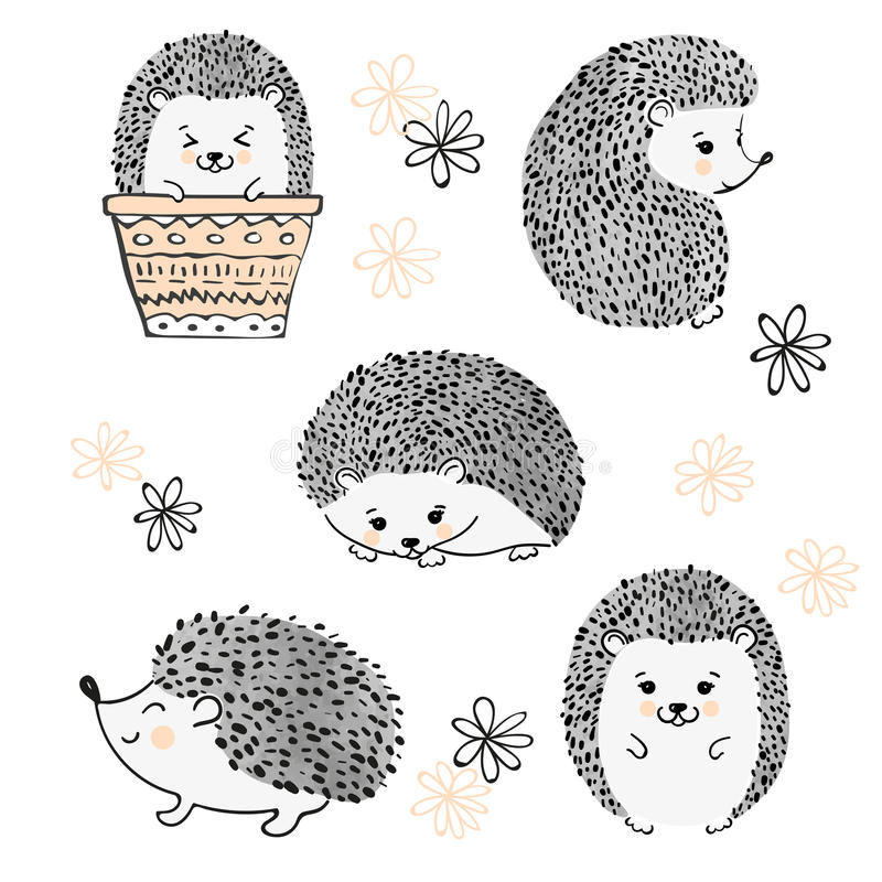 Set of cute watercolor hedgehogs isolate on white. stock illustration
