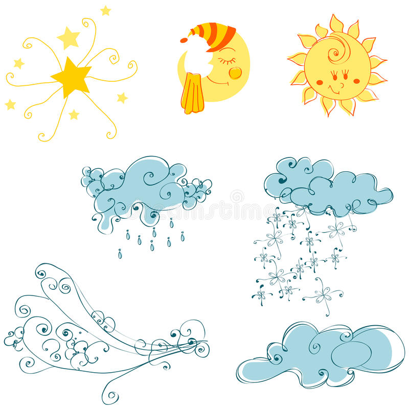 Set of cute weather elements stock illustration